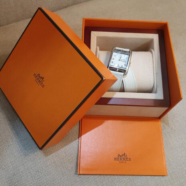 Hermès orologio in acciaio e pelle